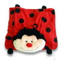 Kids Soft Snuggle Blanket With Soft Toy Pillow Ladybug Pet