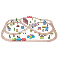 Bigjigs Town and Country  Wooden Train Set